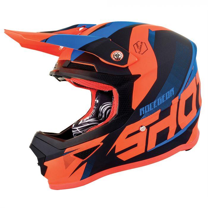 Shot Youth Furious MX Helmet Ultimate Blue Neon Orange