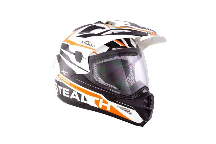 STEALTH HD009 ORANGE ADVENTURE DUAL SPORT OFF ROAD STYLE MOTORCYCLE MX HELMET